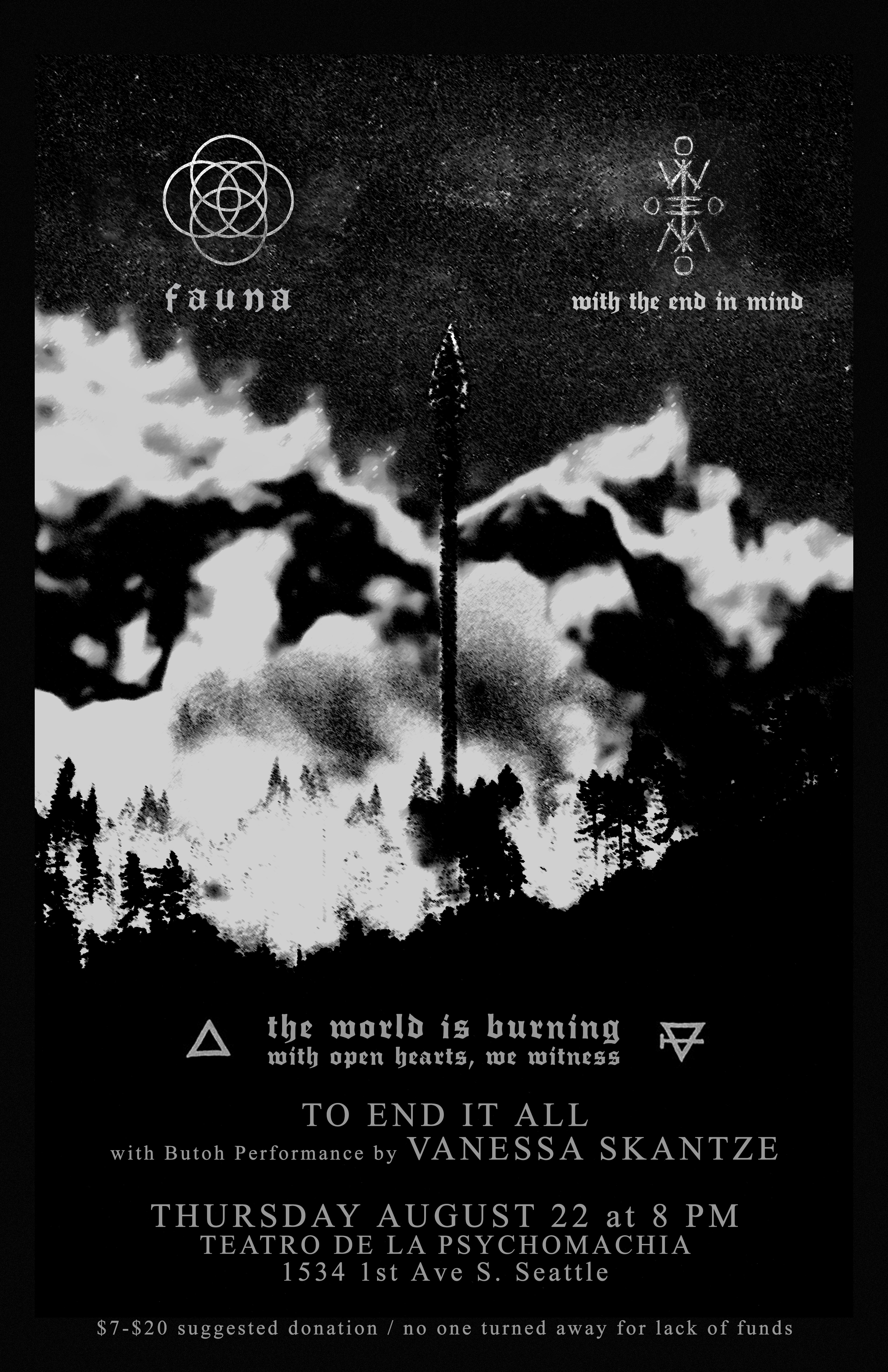 fauna, with the end in mind, to end it all & vanessa skantze at teatro de la psychomachia 8-22-19